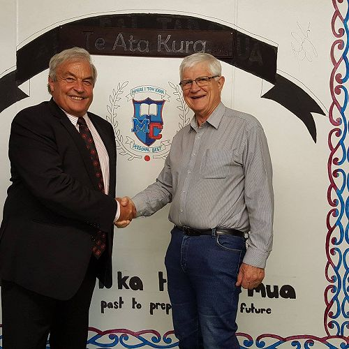 Manawatu College Principal Bruce McIntyre and Chairman of Te Ata Kura Board John Doolan