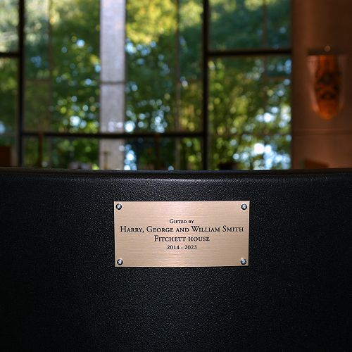 Chapel chair plaque