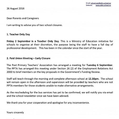 Notices of Teacher Only Day and Early Closure