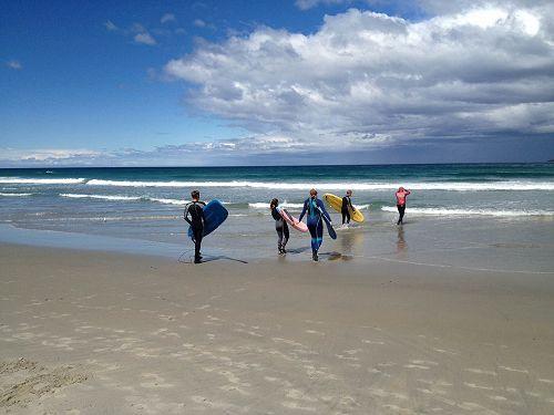 International students surfing