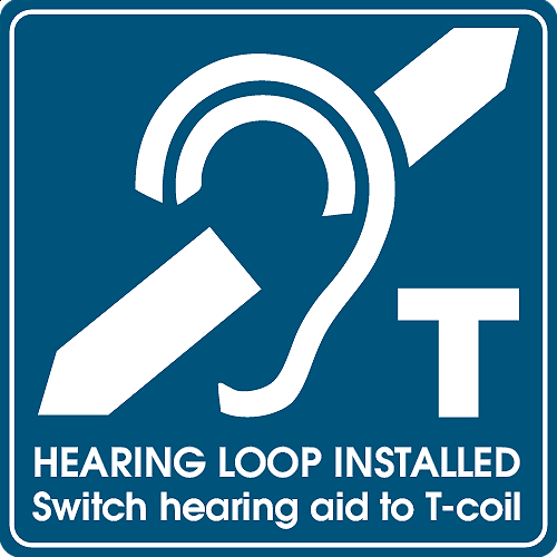 The telecoil emblem will alert you to locations that have a hearing loop installed.