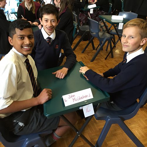 Krishan Luxmanan, Josh Hou and Charlie Grey waiting patiently for the start of the Year 9 & 10 ODT Social Studies Quiz