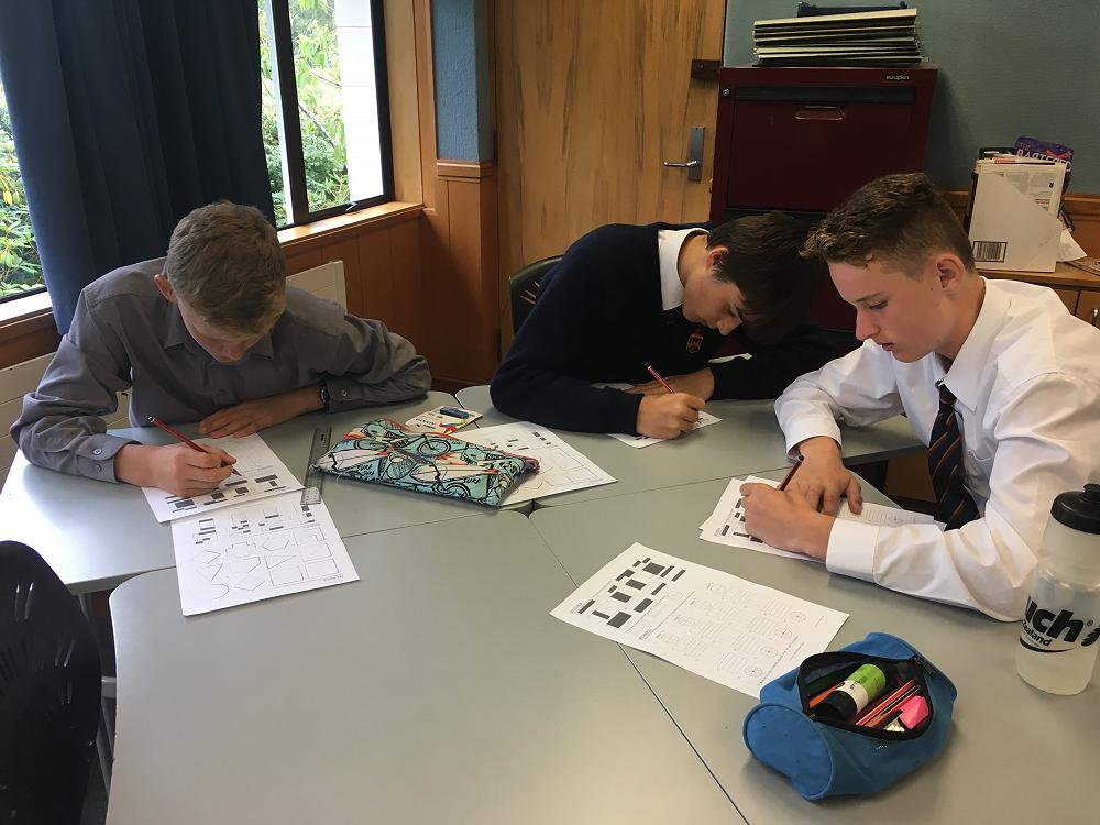 Archie, Felix and Matheson revising their Mathematics.