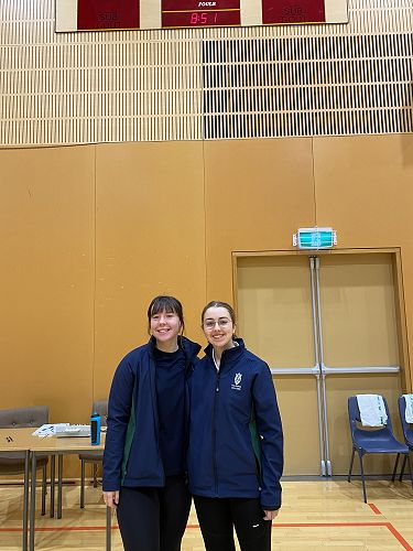 Ruby Jary and Zoe McElrea - Columba netball referees