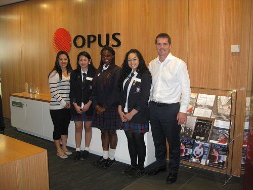Julie Chuor with Linda Hoy, Noella Niyonzima and Jamie Rameka and Opus CEO, David Prentice.