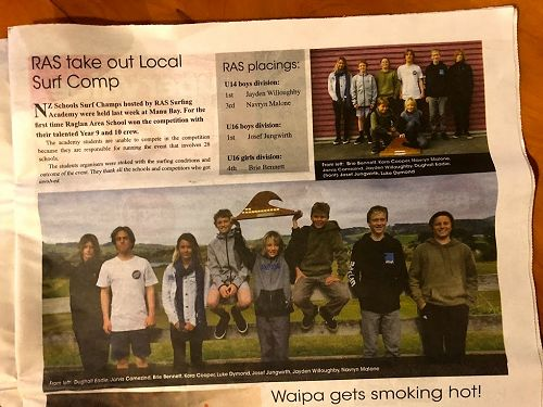 It's great flicking through The Raglan Chronicle and seeing so many RAS students!