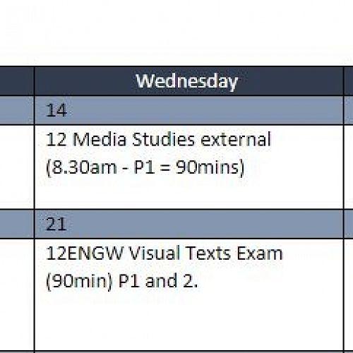 Assessment Calendar for Term 4, Week 1-2 Year 12