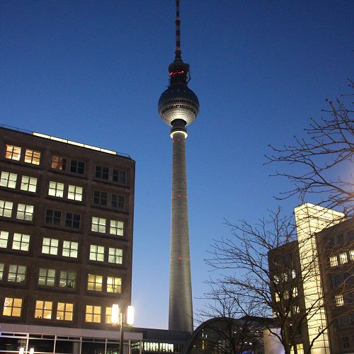 Berlin 'Fernsehturm' at night.
