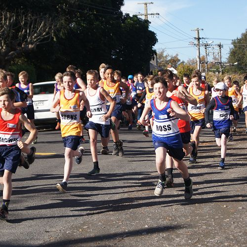 Y7&8 students speed from the start line in their cross country