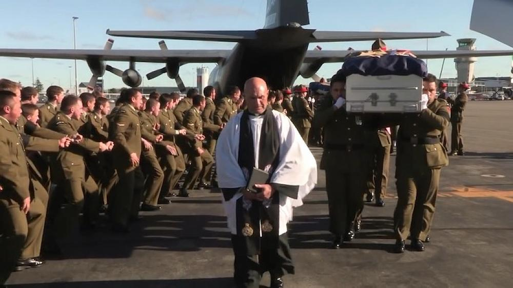The Haka as the three soldiers returned to New Zealand.