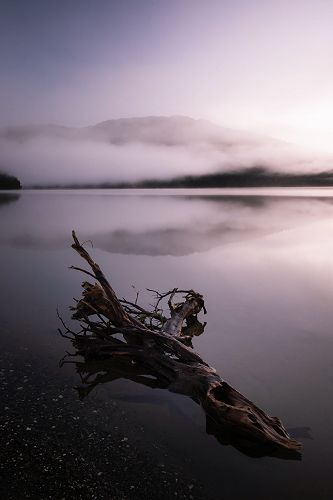Fog covering the Hills at Lake Paringa by Quinn Cl