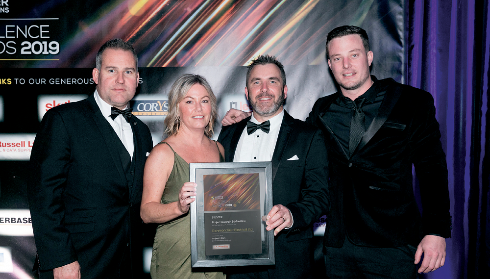 Master Electrician Excellence Awards 2019 - Mike & Sarah Barr, Glenn Climo and Matt Delaney receiving the Silver Award for an electrical project between 1-5 million