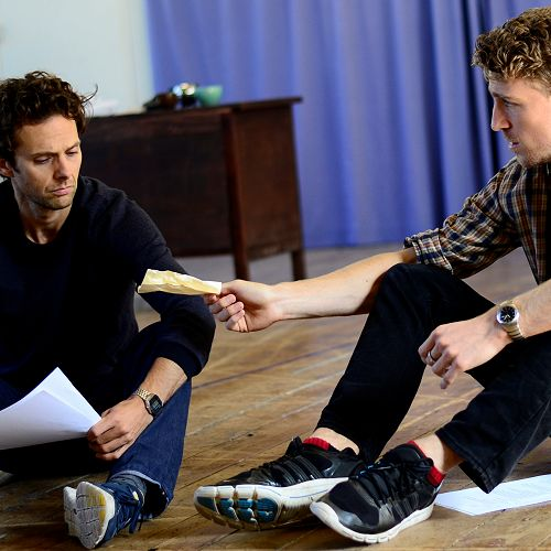 "Actors Jonathan Martin and Ben Van Leir, during the first cast reading and rehearsal of ""The War Play""."
