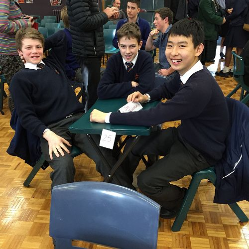 Jack Murray, Tom Sullivan and Joe Muwaiting patiently for the start of the Year 9 & 10 ODT Social Studies Quiz