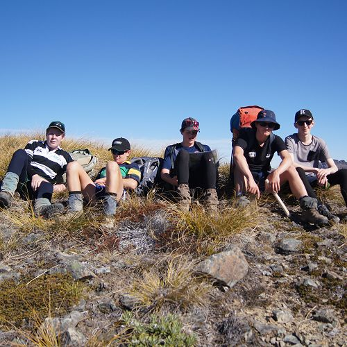 Jack, Oscar, Nic, Archie and Neil at the first of many false summits