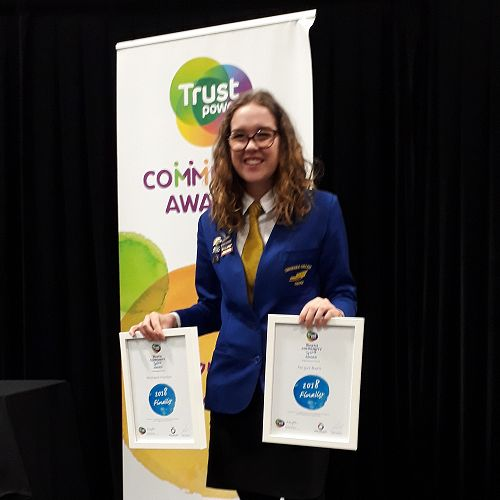 Michaela Pointon at the 2018 Trust Power Community Awards
