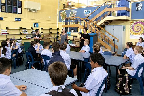 Students in 9Hub meet their Group Tutors (l-r), Mr Pan, Mrs McNulty and Ms Henrickson.