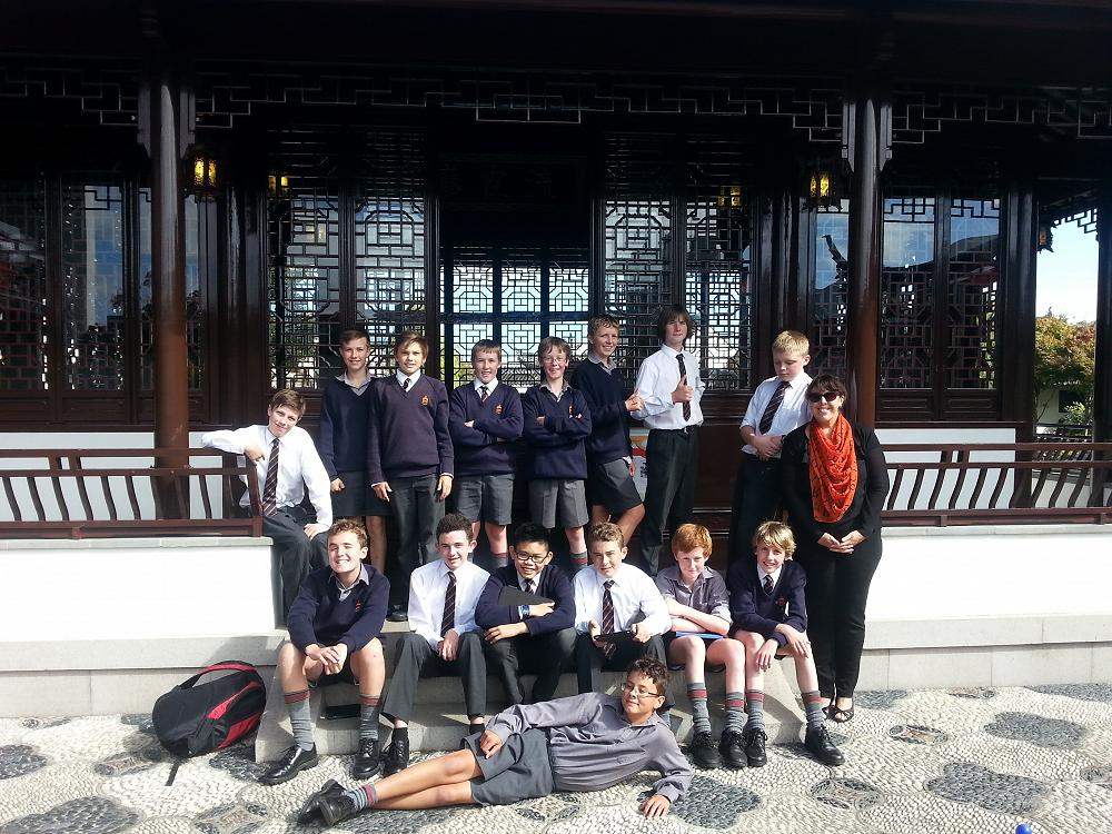 Year 9 Drama class at the Dunedin Chinese Garden