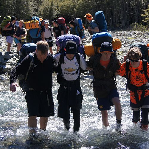 Peter, Nathan, Josh and Samuel cross the North Branch of the Temple
