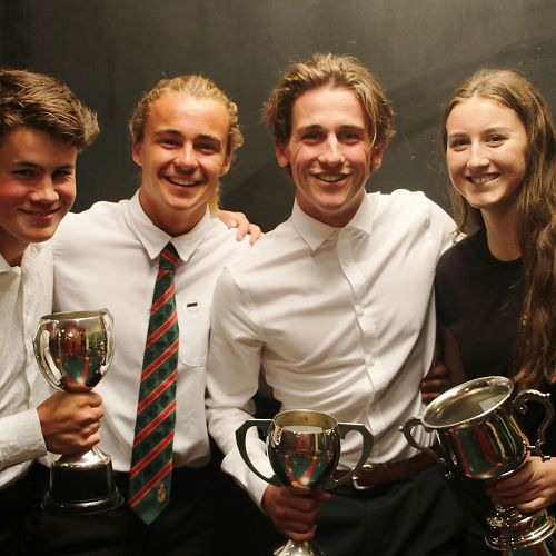 Stewart & MacMillan House Captains with the House Cups