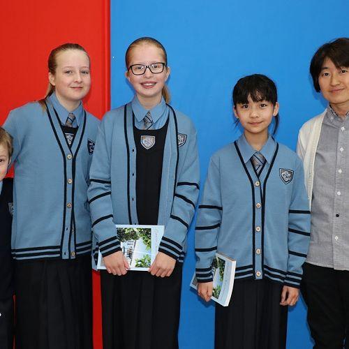 Elijah, Phoebe, Saskia, Haru and Mrs Takasaki