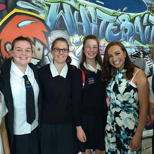 """Our students at Whitebait Studios meeting one of the """"Adam and Eve Show"""" hosts, Eve Palmer. Those in the picture are: Muskaan Lal, Jordyn Hasselberg, Shonny Jones, Tayler Leary, Eve Palmer and Sian O'Connell."""