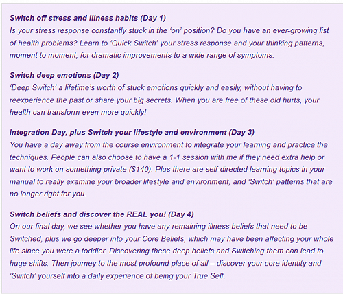 Course content (from Mel Abbot's Empower Therapies website