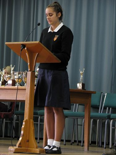 Grace Williams speaks at Assembly