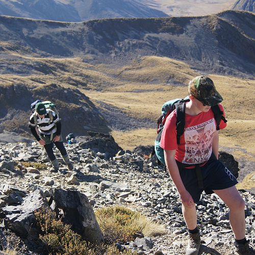 Jack and Jack making their way up the final section to the summit