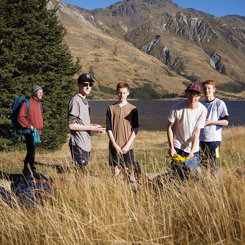 Matthew, Neil, Adrian, Barend and Matt get a snack at the first break