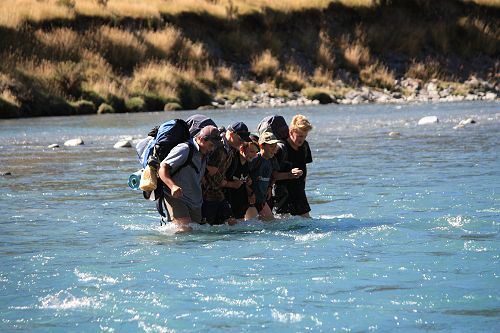Group 1 demonstrating good river crossing techniqu