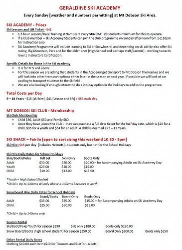 Geraldine Ski Academy Price List