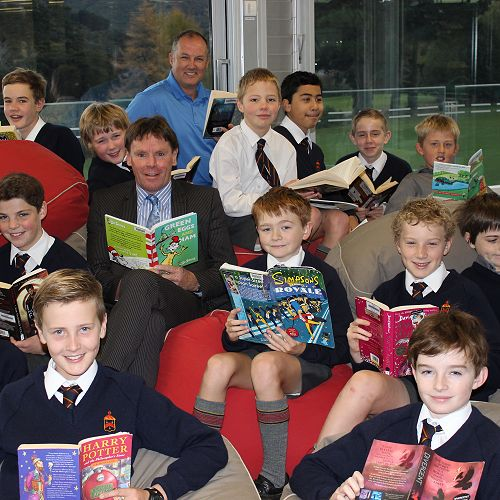 Principal Neil Garry taking part in Go McGlashan Read with Mr Hore's Year 7 class.