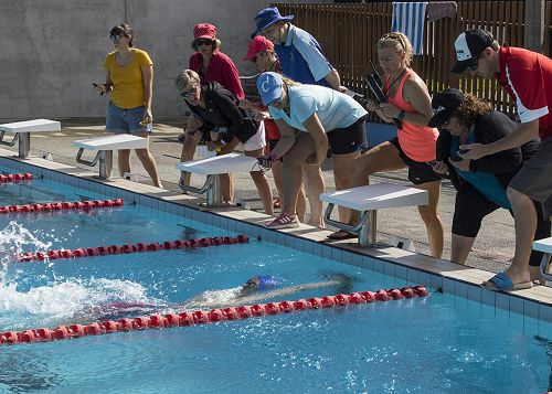 Samuel Gray - Senior Boys 100 m Backstroke, breaking the record!