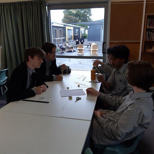 Connor Ingram, Jamie Tuari, Andrew McKay, Rhyush Kumar and Jayden Hulse-Sixtus discuss strategy for their construction.