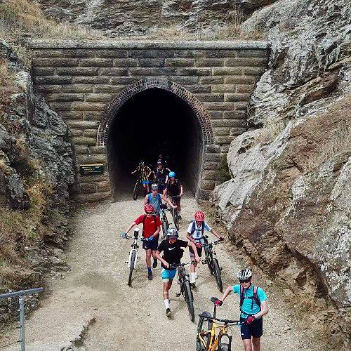 Good boys walking their bikes through the tunnels as instructed!