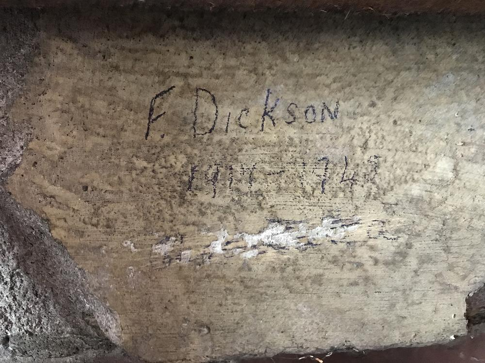 F. Dickson's inscription on the inner wall of Room