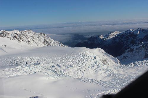 The accumulation nevé of the Fox Glacier.
