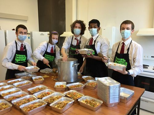 Kavanagh students helping with food preparation