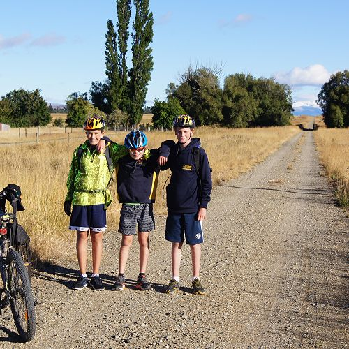 Ben, Leo and Oscar on the route out of Ranfurly