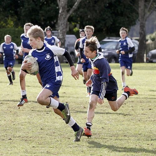 Jaquan Fraser-Mapusua chases in an attempt to stop a run-away try in the Waihi Exchange Rugby Game