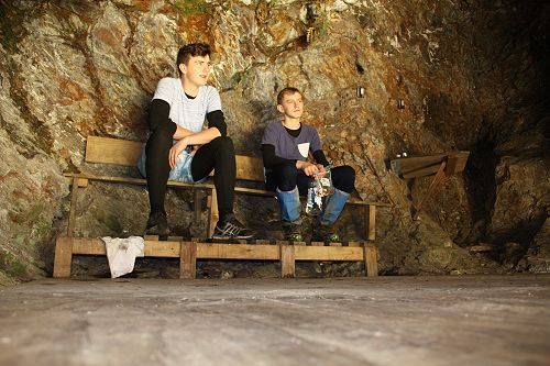 Matthew and Nick relaxing in ABC Cave