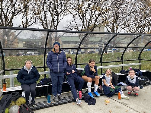 Columba bench supporting the First XI Soccer tem