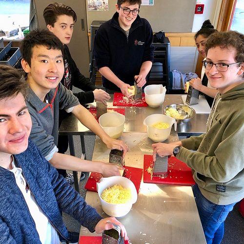 Spanish students preparing Quesadilla..