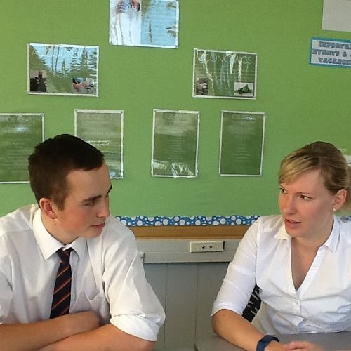 Senior student Wade Adams and Ms Rebecca Rapson (Gateway Co-ordinator) discussing Wade's learning pathways and how these connect to his future career plans.