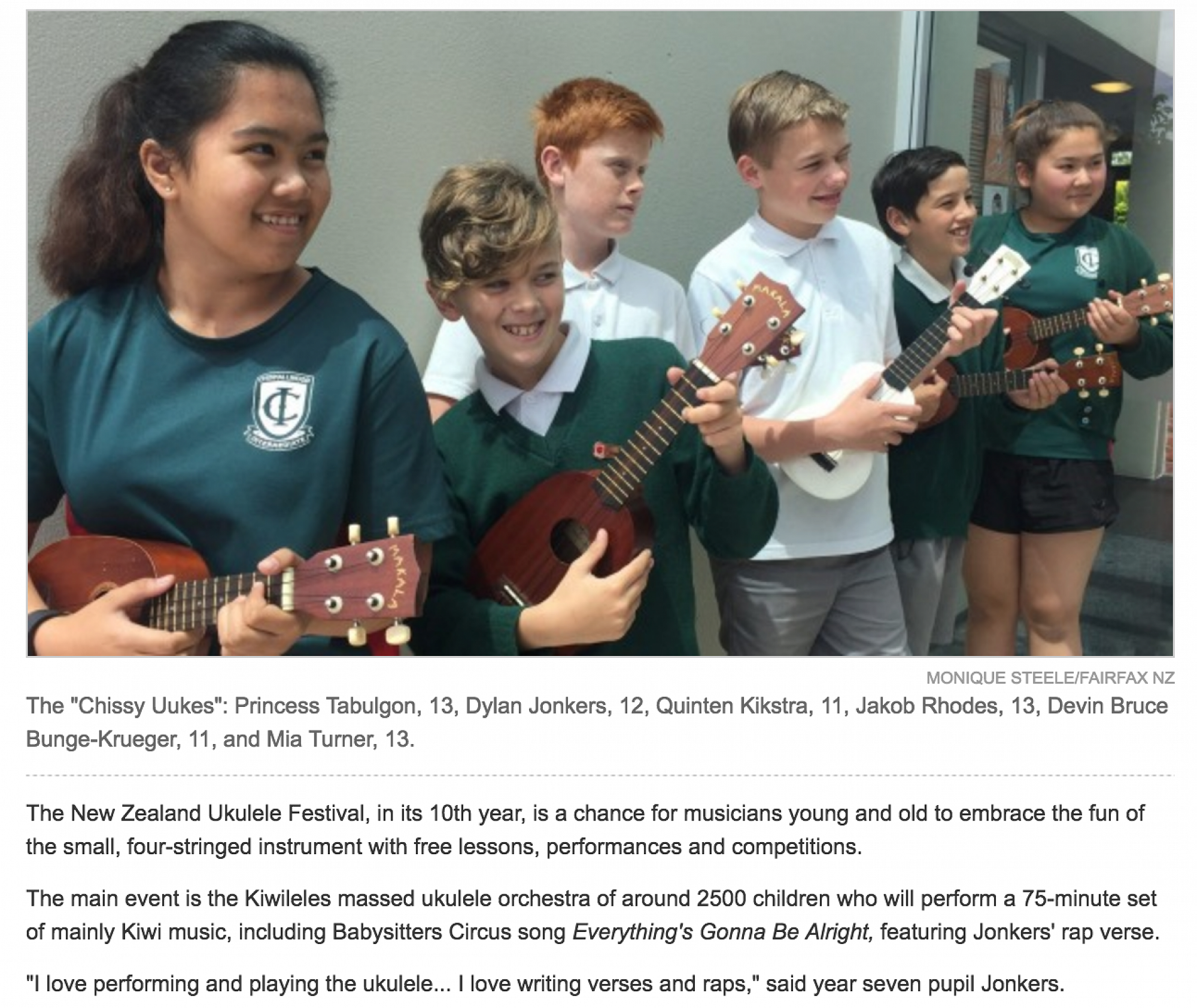 Full article at http://www.stuff.co.nz/the-press/86861520/christchurch-school-only-south-islanders-to-attend-ukulele-festival-in-auckland
