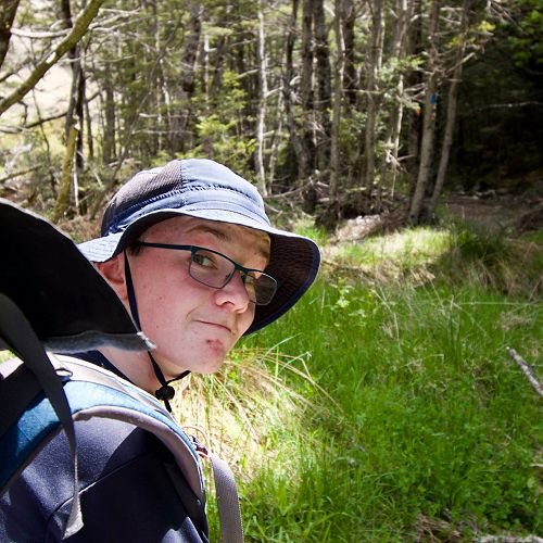 Fergus Parks tramping through pristine Beech Forest
