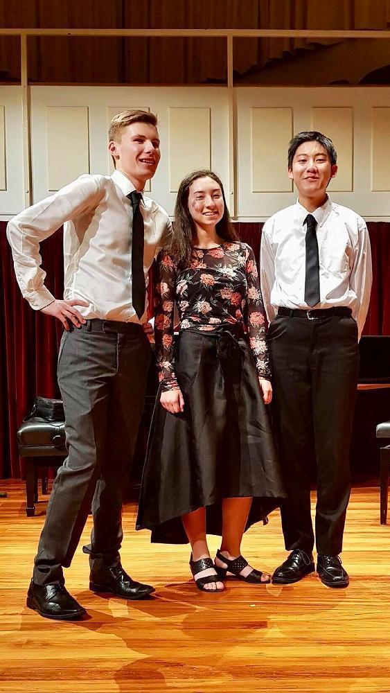 Chamber music regional winners Toitū trio