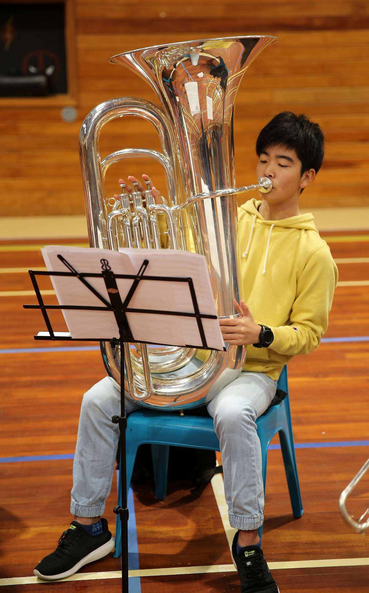 Keigo Itani playing the tuba