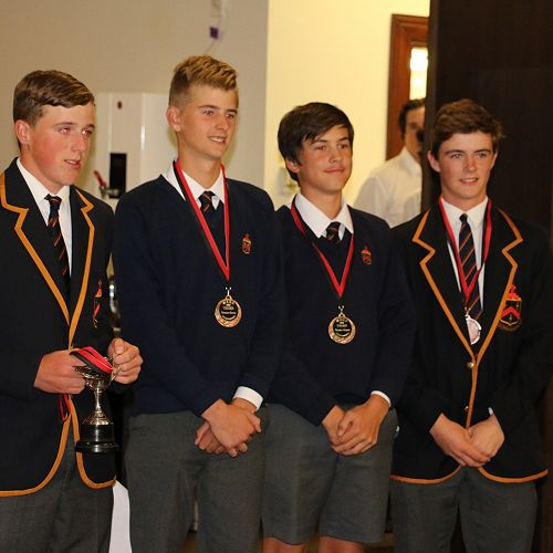 The John McGlashan College team that won a bronze medal in the Nett competition of the World School's golf challenge are congratulated at the prize giving.